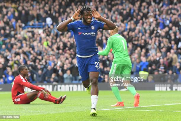 Michy Batshuayi of Chelsea celebrates scoring his second goal Chelsea's fourth during the Premier League match between Chelsea and Watford at...