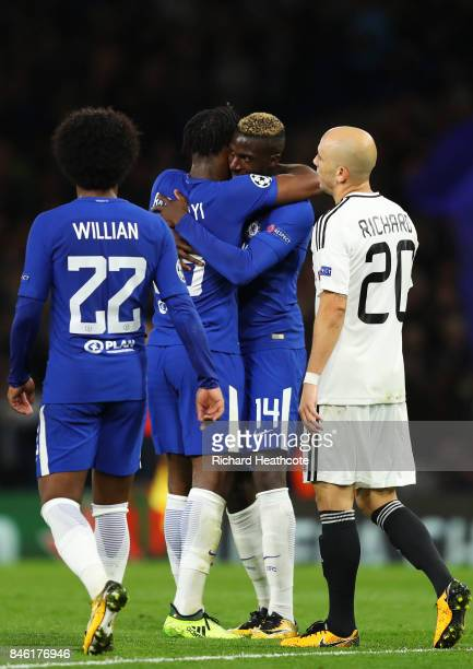 Michy Batshuayi of Chelsea celebrates scoring his sides fifth goal with Tiemoue Bakayoko of Chelsea during the UEFA Champions League Group C match...