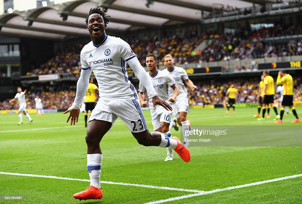 Michy Batshuayi of Chelsea celebrates scoring his sides first goal during the Premier League match between Watford and Chelsea at Vicarage Road on August 20, 2016 in Watford, England.