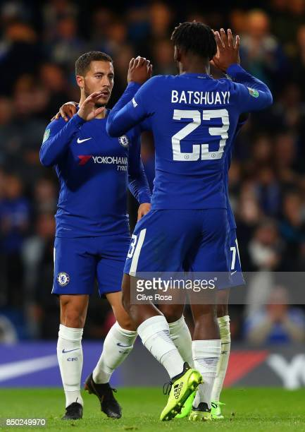 Michy Batshuayi of Chelsea celebrates scoring his sides fourth goal with Eden Hazard of Chelsea during the Carabao Cup Third Round match between...
