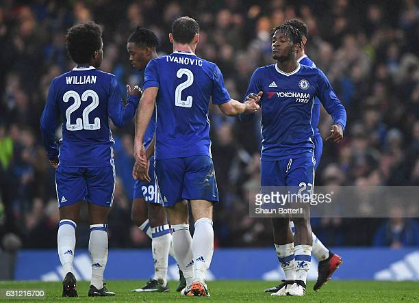 Michy Batshuayi of Chelsea celebrates scoring his sides second goal with Branislav Ivanovic of Chelsea Willian of Chelsea during The Emirates FA Cup...