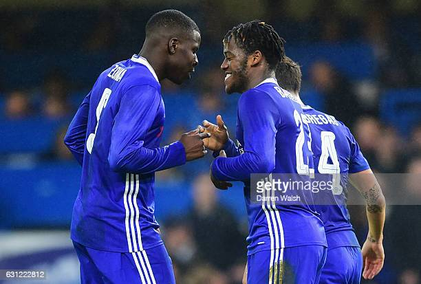 Michy Batshuayi of Chelsea celebrates scoring his sides second goal with Kurt Zouma of Chelsea during The Emirates FA Cup Third Round match between...