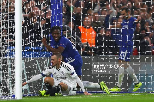 Michy Batshuayi of Chelsea celebrates scoring his sides sixth goal during the UEFA Champions League Group C match between Chelsea FC and Qarabag FK...