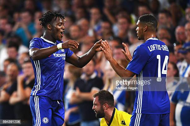 Michy Batshuayi of Chelsea celebrates scoring his sides third goal with Ruben LoftusCheek of Chelsea during the EFL Cup second round match between...