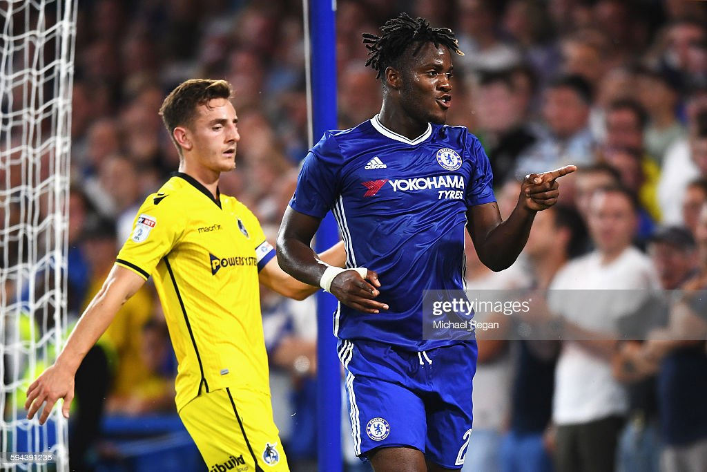 Michy Batshuayi of Chelsea celebrates scoring his sides third goal during the EFL Cup second round match between Chelsea and Bristol Rovers at Stamford Bridge on August 23, 2016 in London, England.