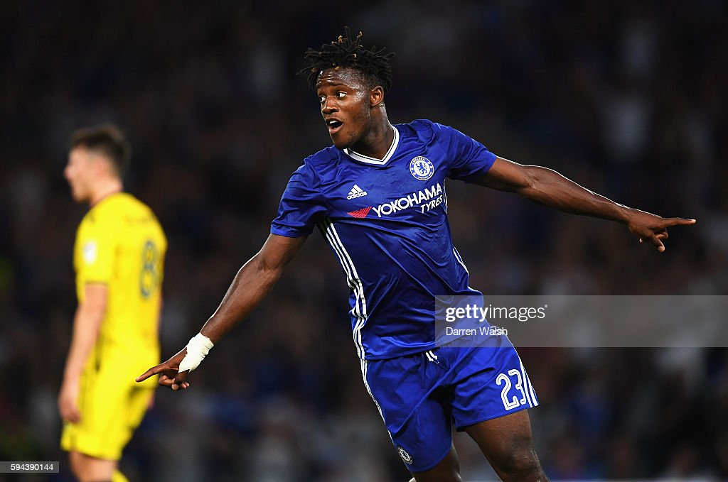 Michy Batshuayi of Chelsea celebrates scoring the opening goal during the EFL Cup second round match between Chelsea and Bristol Rovers at Stamford Bridge on August 23, 2016 in London, England.