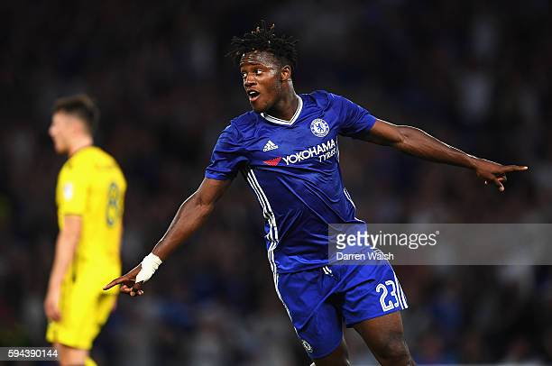 Michy Batshuayi of Chelsea celebrates scoring the opening goal during the EFL Cup second round match between Chelsea and Bristol Rovers at Stamford...