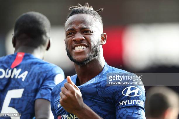 Michy Batshuayi of Chelsea celebrates scoring their 4th goal during the Premier League match between Southampton FC and Chelsea FC at St Mary's...