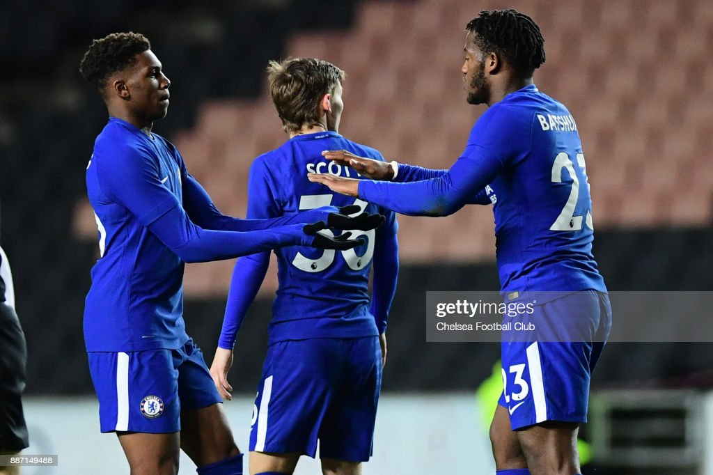 Michy Batshuayi of Chelsea celebrates the first goal during the Second Round Checkatrade Trophy Match between MK Dons and Chelsea FC at StadiumMK on December 6, 2017 in Milton Keynes, England.