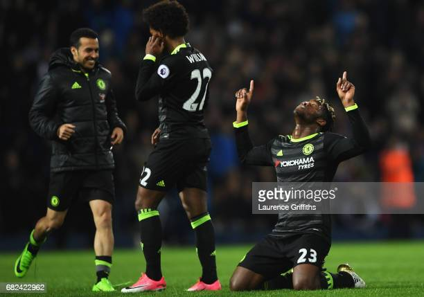 Michy Batshuayi of Chelsea celebrates winning the league after the Premier League match between West Bromwich Albion and Chelsea at The Hawthorns on...