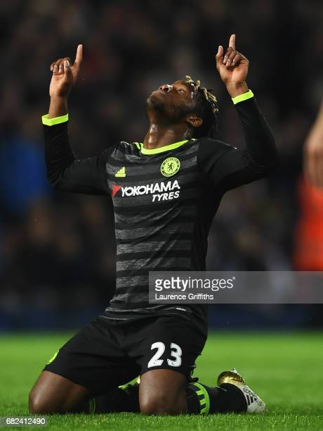 Michy Batshuayi of Chelsea celebrates winning the leauge after the Premier League match between West Bromwich Albion and Chelsea at The Hawthorns on...