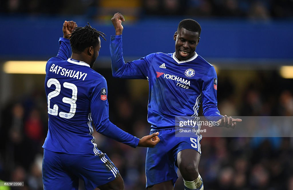 Michy Batshuayi of Chelsea celebrates with Kurt Zouma of Chelsea after scoring his sides fourth goal during the Emirates FA Cup Fourth Round match between Chelsea and Brentford at Stamford Bridge on January 28, 2017 in London, England.