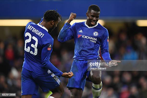 Michy Batshuayi of Chelsea celebrates with Kurt Zouma of Chelsea after scoring his sides fourth goal during the Emirates FA Cup Fourth Round match...