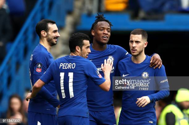Michy Batshuayi of Chelsea celebrates with teammates after scoring his sides second goal during The Emirates FA Cup Fourth Round match between...
