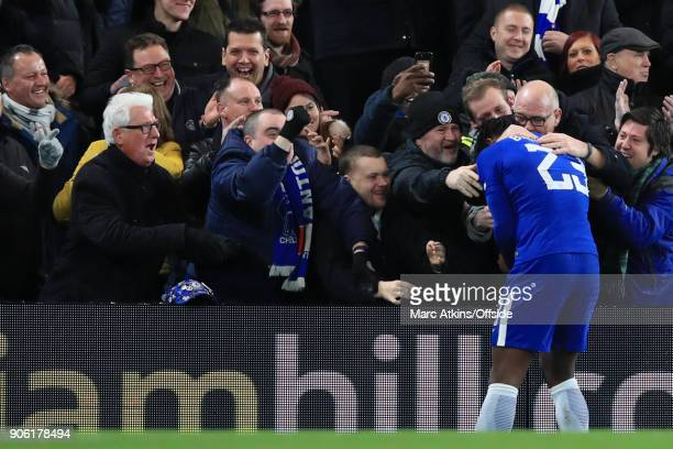Michy Batshuayi of Chelsea celebrates with the fans after scoring their 1st goal during The Emirates FA Cup Third Round Replay match between Chelsea...
