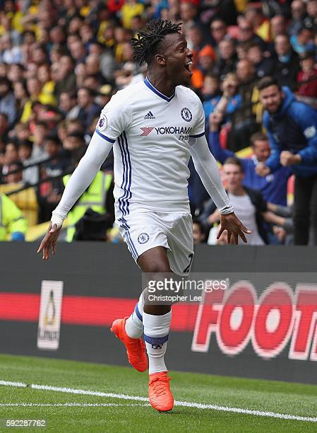 Michy Batshuayi of Chelsea celebratse scoring their first goal during the Premier League match between Watford and Chelsea at Vicarage Road on August...