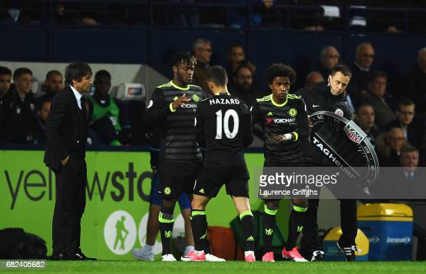 Michy Batshuayi of Chelsea comes on for Eden Hazard of Chelsea during the Premier League match between West Bromwich Albion and Chelsea at The...