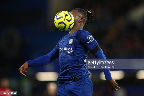 Michy Batshuayi of Chelsea controls the ball during the Premier League match between Chelsea FC and Manchester United at Stamford Bridge on February...