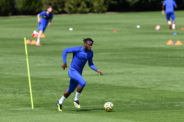 Michy Batshuayi of Chelsea during a small group training session at Chelsea Training Ground on May 22 2020 in Cobham England