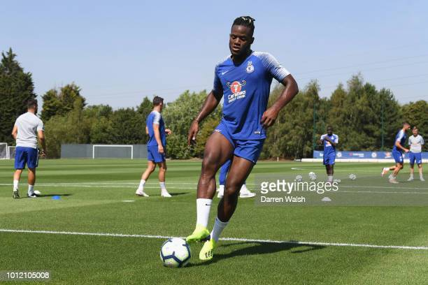 Michy Batshuayi of Chelsea during a training session at Chelsea Training Ground on August 6 2018 in Cobham England