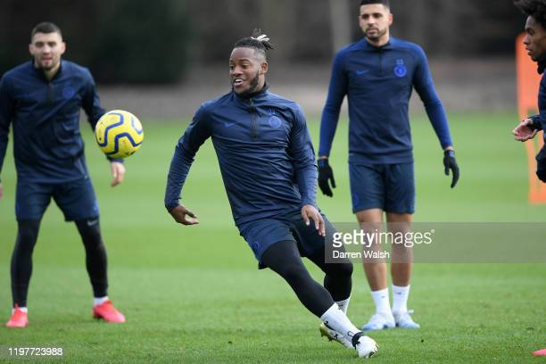 Michy Batshuayi of Chelsea during a training session at Chelsea Training Ground on January 31 2020 in Cobham United Kingdom