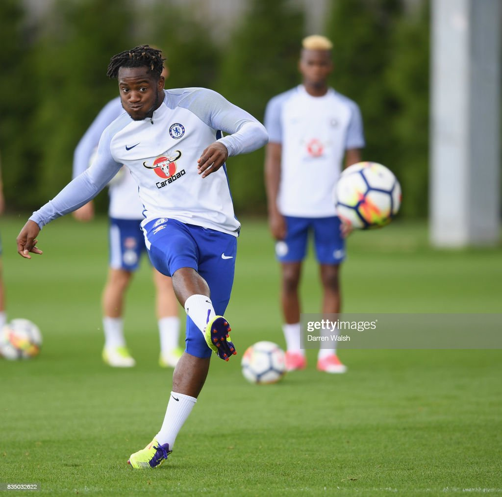 Michy Batshuayi of Chelsea during a training session at Chelsea Training Ground on August 18, 2017 in Cobham, England.