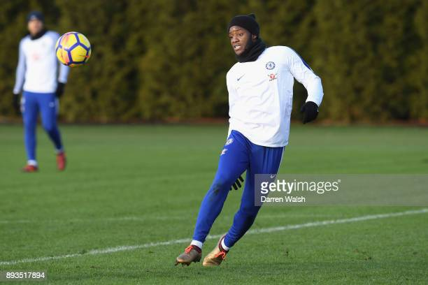 Michy Batshuayi of Chelsea during a training session at Chelsea Training Ground on December 15 2017 in Cobham England