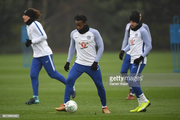Michy Batshuayi of Chelsea during a training session at Chelsea Training Ground on January 9 2018 in Cobham England