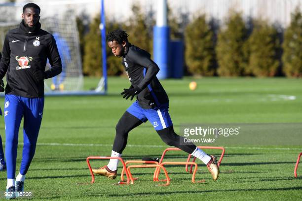 Michy Batshuayi of Chelsea during a training session at Chelsea Training Ground on January 19 2018 in Cobham England