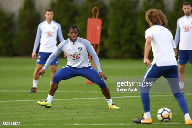 Michy Batshuayi of Chelsea during a training session at the Cobham Training Ground on October 13 2017 in Cobham England