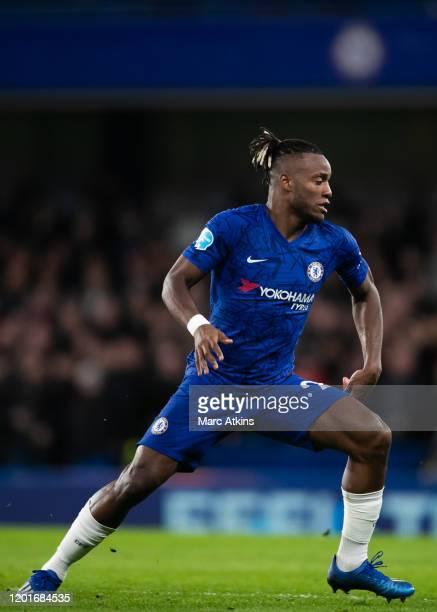 Michy Batshuayi of Chelsea during the Premier League match between Chelsea FC and Manchester United at Stamford Bridge on February 17 2020 in London...