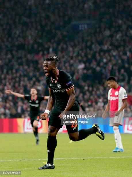 Michy Batshuayi of Chelsea FC celebrates 01 during the UEFA Champions League match between Ajax v Chelsea at the Johan Cruijff Arena on October 23...