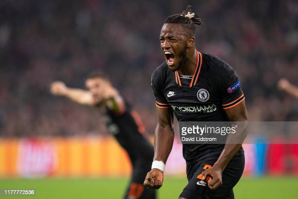 Michy Batshuayi of Chelsea FC celebrates after scoring the 01 goal during the UEFA Champions League group H match between AFC Ajax and Chelsea FC at...