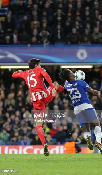 Michy Batshuayi of Chelsea FC in action against Stefan Savic of Atletico Madrid during the UEFA Champions League soccer match between Chelsea FC and...