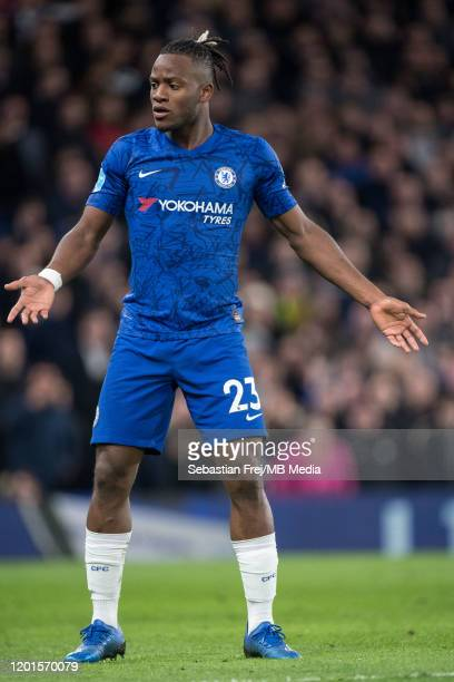 Michy Batshuayi of Chelsea FC reacts during the Premier League match between Chelsea FC and Manchester United at Stamford Bridge on February 17 2020...