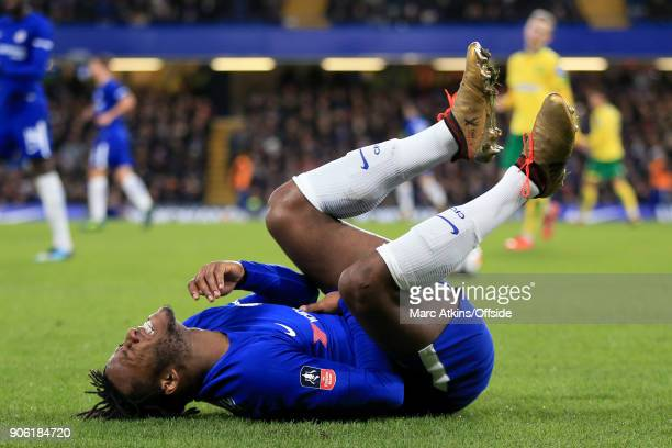 Michy Batshuayi of Chelsea goes down injured during The Emirates FA Cup Third Round Replay match between Chelsea and Norwich City at Stamford Bridge...