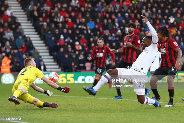 Michy Batshuayi of Chelsea has his shot saved by Aaron Ramsdale of AFC Bournemouth during the Premier League match between AFC Bournemouth and...