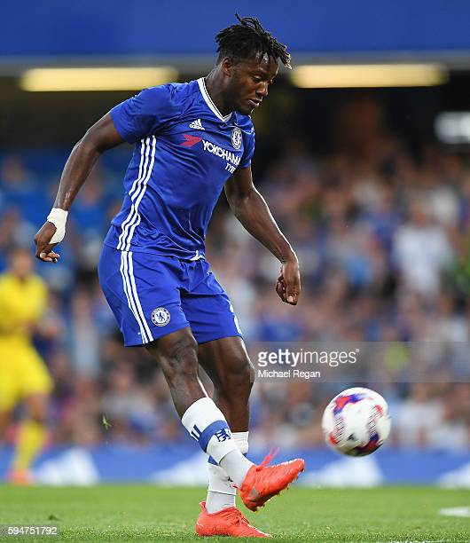 Michy Batshuayi of Chelsea in action during the EFL Cup second round match between Chelsea and Bristol Rovers at Stamford Bridge on August 23 2016 in...