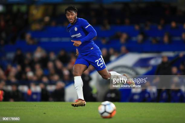 Michy Batshuayi of Chelsea in action during The Emirates FA Cup Third Round Replay match between Chelsea and Norwich City at Stamford Bridge on...