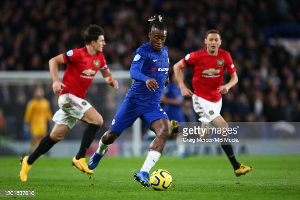 Michy Batshuayi of Chelsea in action during the Premier League match between Chelsea FC and Manchester United at Stamford Bridge on February 17 2020...