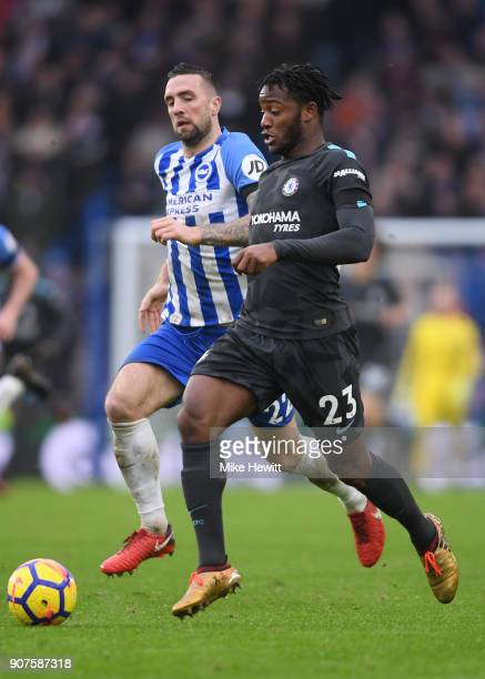 Michy Batshuayi of Chelsea in action during the Premier League match between Brighton and Hove Albion and Chelsea at Amex Stadium on January 20 2018...