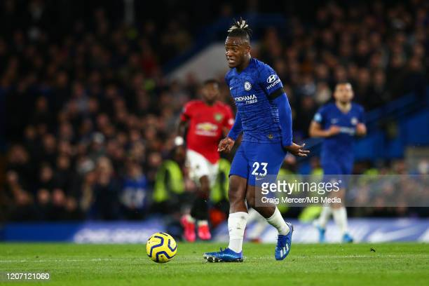 Michy Batshuayi of Chelsea kicks the ball during the Premier League match between Chelsea FC and Manchester United at Stamford Bridge on February 17...