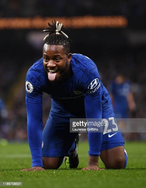 Michy Batshuayi of Chelsea reacts after a missed chance during the Premier League match between Manchester City and Chelsea FC at Etihad Stadium on...
