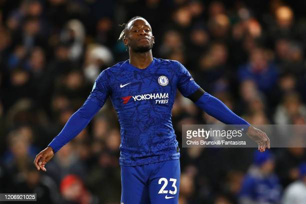 Michy Batshuayi of Chelsea reacts after missing a chance during the Premier League match between Chelsea FC and Manchester United at Stamford Bridge...
