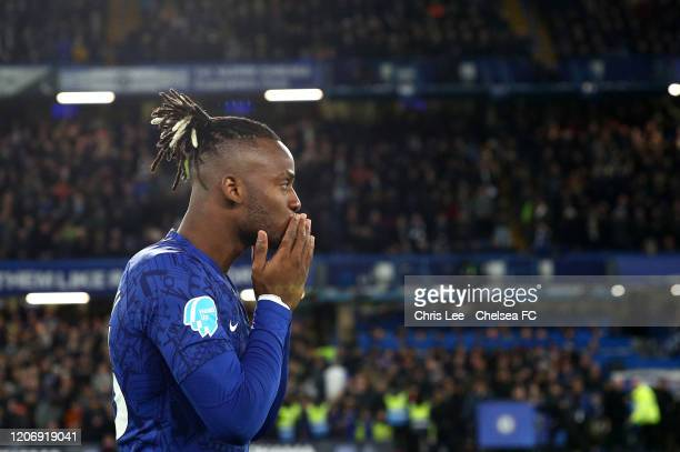 Michy Batshuayi of Chelsea reacts during the Premier League match between Chelsea FC and Manchester United at Stamford Bridge on February 17 2020 in...