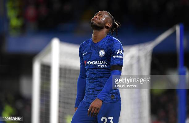 Michy Batshuayi of Chelsea reacts during the Premier League match between Chelsea FC and Manchester United at Stamford Bridge on February 17, 2020 in...