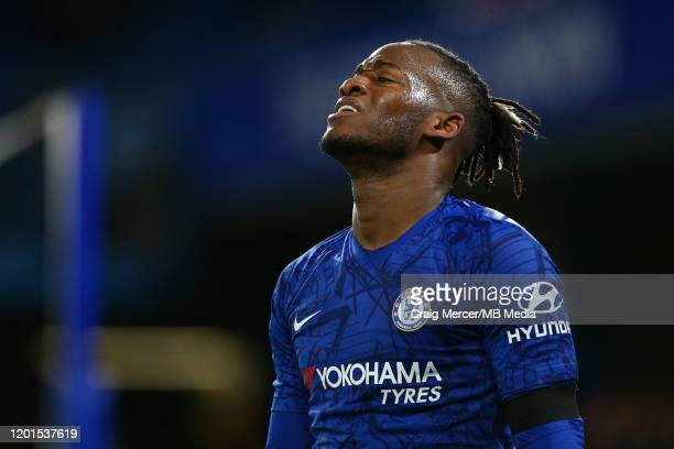 Michy Batshuayi of Chelsea reacts to a missed chance during the Premier League match between Chelsea FC and Manchester United at Stamford Bridge on...