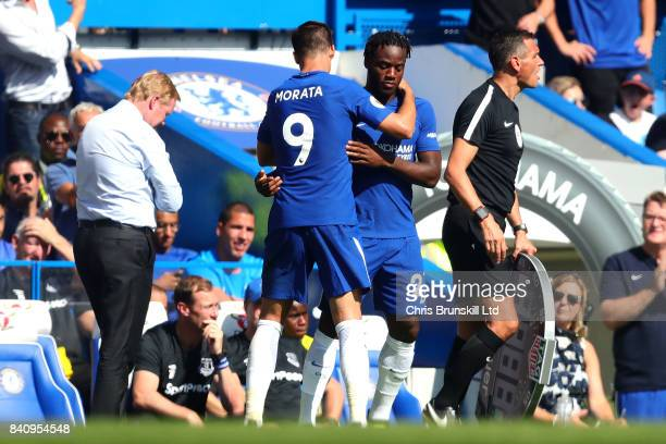 Michy Batshuayi of Chelsea replaces Alvaro Morata of Chelsea as a substitute during the Premier League match between Chelsea and Everton at Stamford...