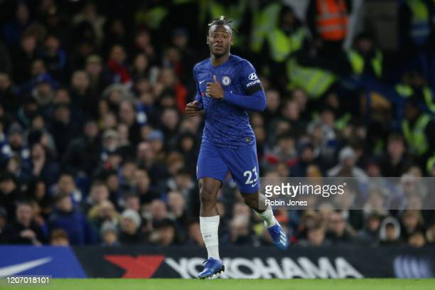 Michy Batshuayi of Chelsea runs during the Premier League match between Chelsea FC and Manchester United at Stamford Bridge on February 17 2020 in...