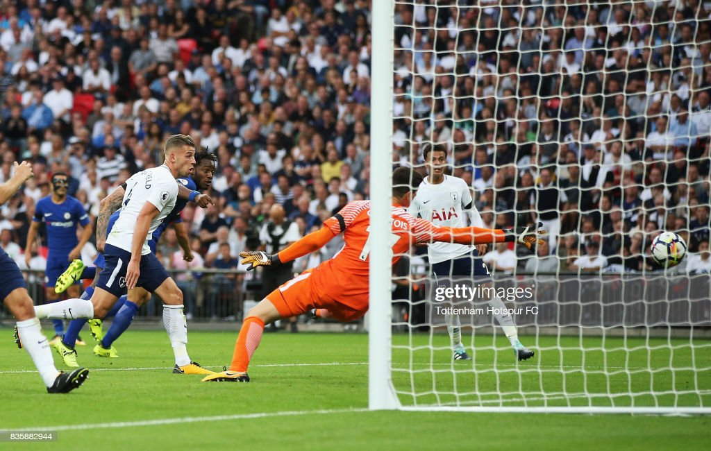Michy Batshuayi of Chelsea scoes a own goal for Tottenham Hotspur first goal of the game during the Premier League match between Tottenham Hotspur and Chelsea at Wembley Stadium on August 20, 2017 in London, England.